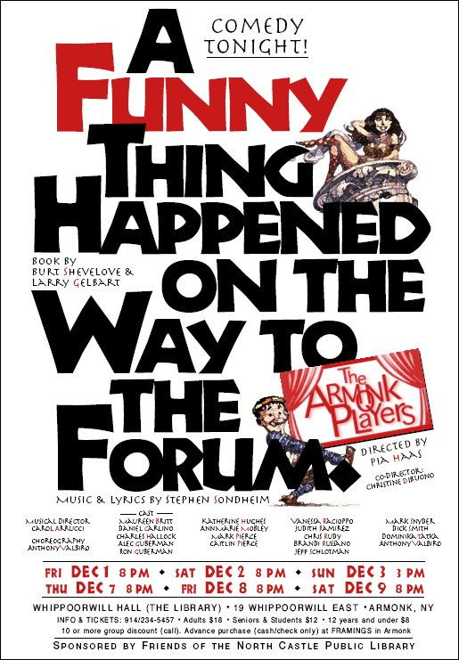 a funny thing happened on the way to the forum essay A funny thing happened on the way to the forum july 5 - 11 comedy tonight load up the chariots, we are off to the muny for big, big laughs considered one of broadway's greatest farces, this musical romp through rome includes desperate lovers, mistaken identities, scheming neighbors and secrets behind every toga.